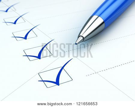 Checklist concept: checklist, paper and blue pen