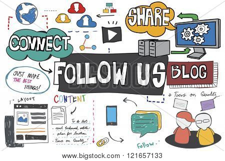 Follow us Follower Join us Social Media Concept