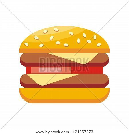 Burger Hamburger Isolated Flat Design