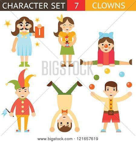 Clown 1 April Joke Fun Boys Girls Characters Icon Set Symbol  Accessories Stylish Isolated Flat Desi