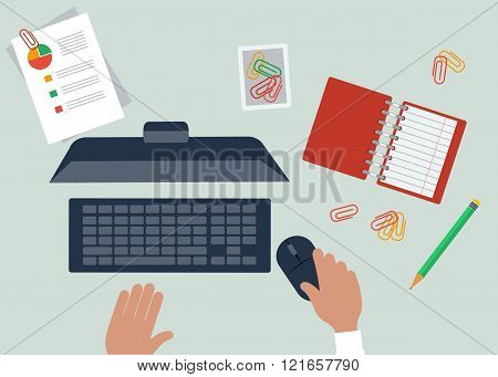 Work Table Document and Laptop Design Flat