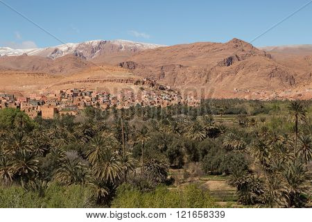 view of an ancient kasbah in the Moroccan countryside