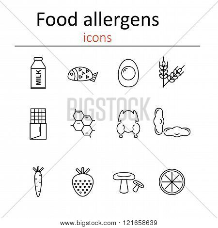 Food allergens. Icons food allergens in the style of the line.