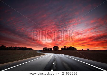Road At The Sunset