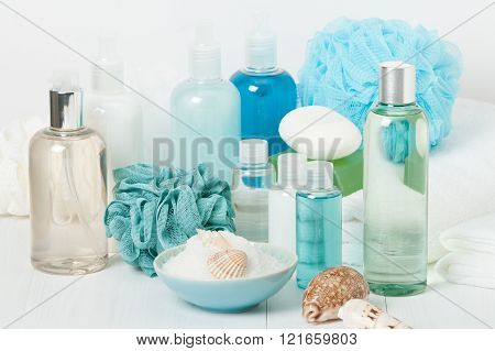 Spa Kit. Shampoo, Soap Bar And Liquid. Shower Gel. Aromatherapy