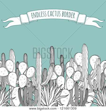 Endless border set of vintage black white succulent cactus border with a ribbon. Vector illustration