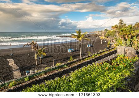 The Coast Of Atlantic Ocean In Puerto De La Cruz, One Of The Most Popular Touristic Towns, Canary Is