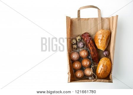 Food mix inside a paper bag background