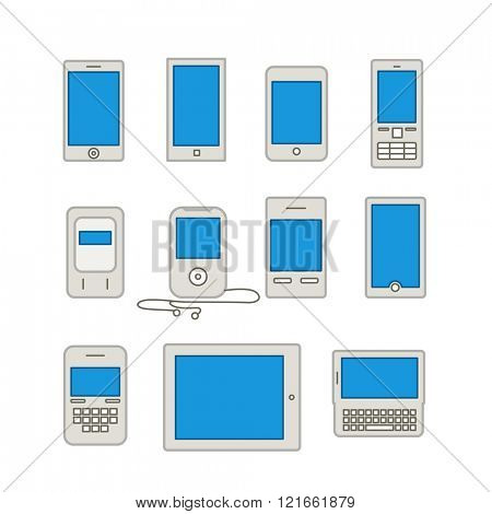Abstract style modern and vintage mobile gadgets. Lineart collection