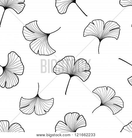 Black and white graphic ginkgo leaves seamless pattern. Palm tree background. Textile, fabric, texture, poster. Vector illustration