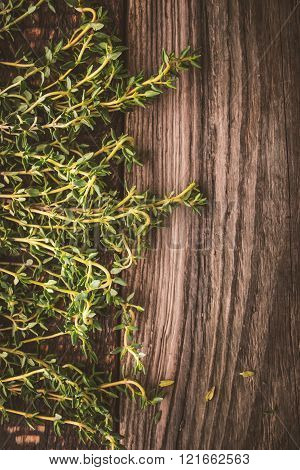Thyme at the left of the wooden background vertical