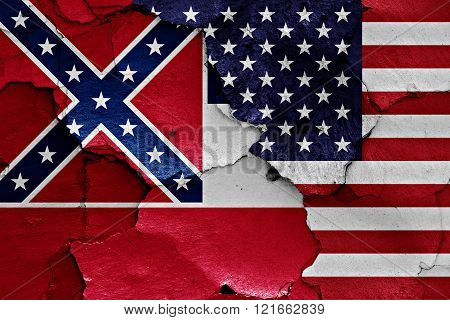 Flags Of Mississippi And Usa Painted On Cracked Wall