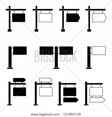 Signboard Set Black Illustration