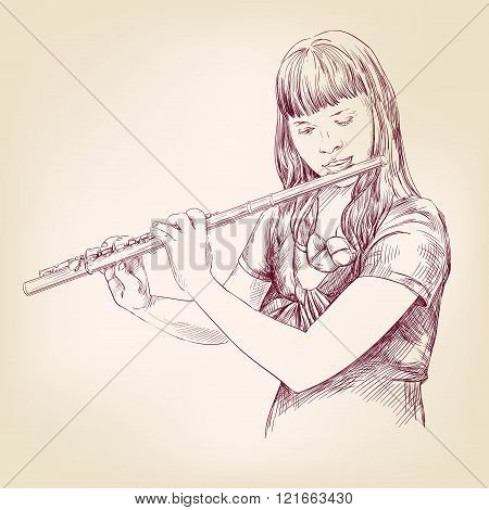 Girl playing the flute hand drawn vector llustration sketch