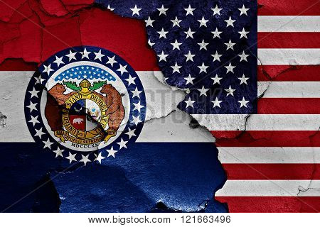 Flags Of Missouri And Usa Painted On Cracked Wall