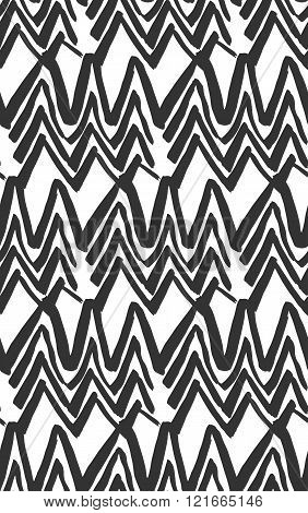 Vector Ink Seamless Black And White Hand Painted Line Concentric Rhombus Shape Pattern Abstract Background.Abstract background for design.