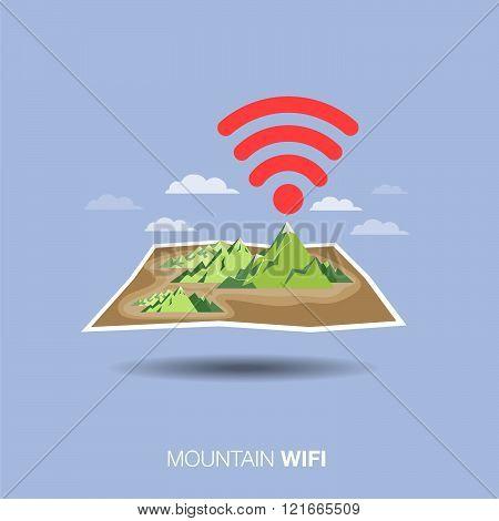 mountain map, wifi , flat design icon