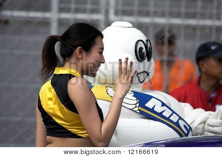 AFOS, sponsor's mascot and pretty girl