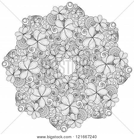 Vector Monochrome Hand Drawn Wreath With Decorative Clover And Coins