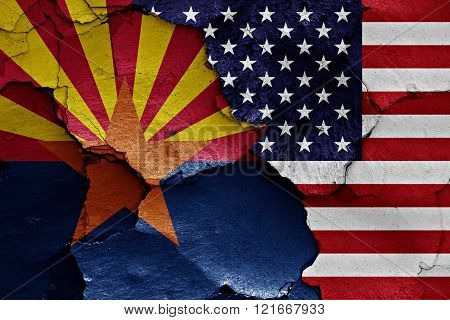 Flags Of Arizona And Usa Painted On Cracked Wall