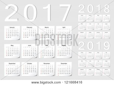 Set Of European 2017, 2018, 2019 Vector Calendars