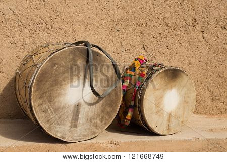 traditional drums of the gnaoua in Merzouga, Morocco