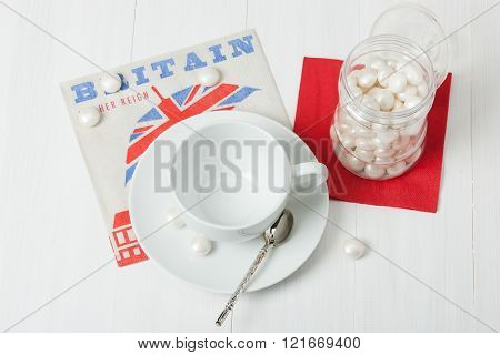 Empty Coffee Cup. British Symbol Paper Napkin. Sweets. White Woo
