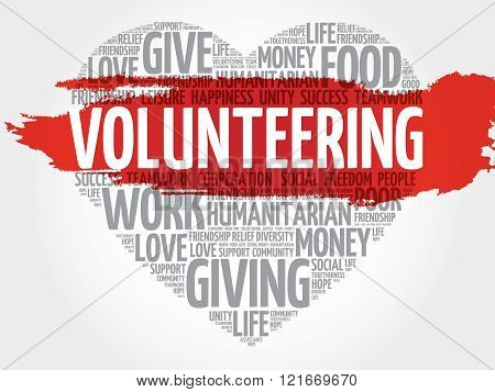 Volunteering word cloud heart concept, presentation background