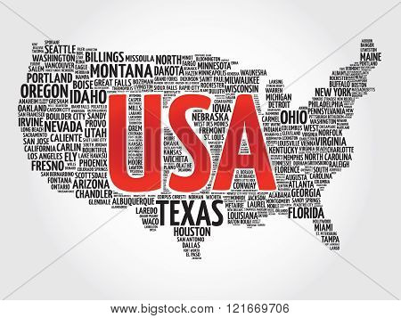 USA Map word cloud made with words cities names, collage