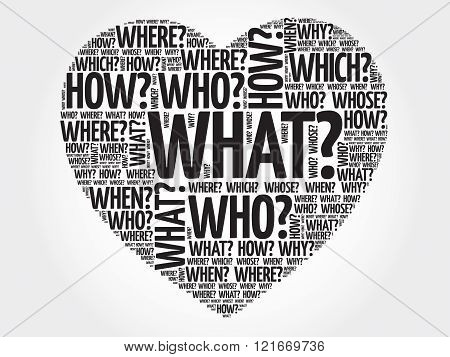 Questions heart Question words concept, presentation background