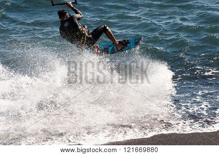 Kite Surfing  In Puertito De Guimar, Tenerife, Canary Islands, Spain