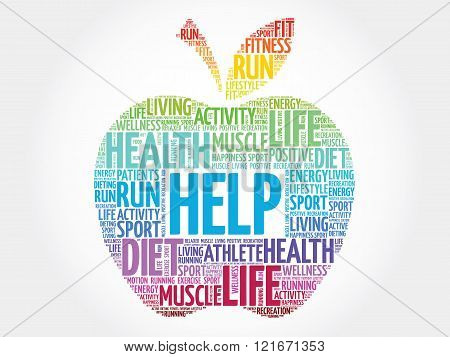 Colorful Help apple word cloud concept, presentation background
