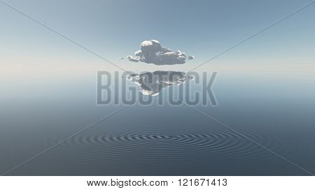 Water with single cloud