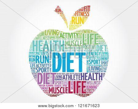 Colorful Diet apple word cloud concept, presentation background