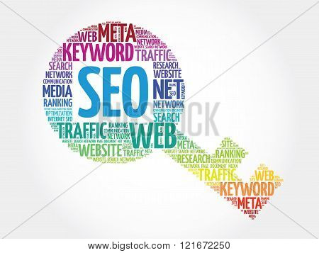 SEO - Search Engine Optimization Key word cloud business concept