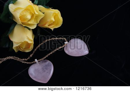 Pink Heart Pendants & Roses