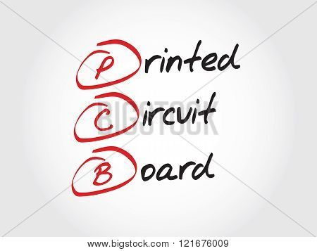 PCB Printed Circuit Board acronym concept, presentation background