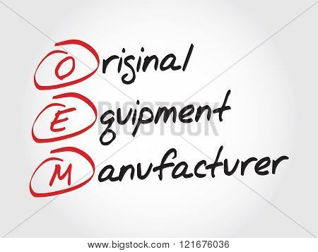 OEM Original Equipment Manufacturer acronym concept, presentation background