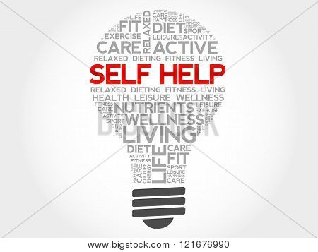 Self Help bulb word cloud, health concept, presentation background