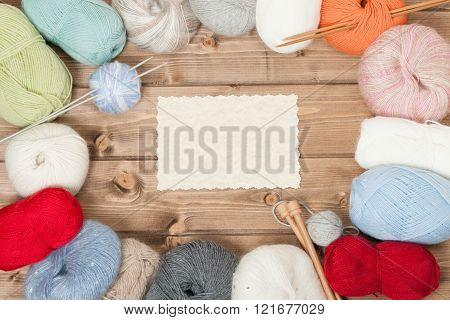 Knitting Accessories. Yarn Balls. Wooden Knit Needles. Copy Space.