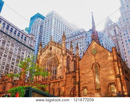 Manhattan, New York city, United States - circa April 2008:Holy Trinity Church , an important Neo-Gothic-style Roman Catholic cathedral of the United States located in midtown Manhattan, New York City