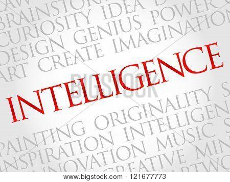 Intelligence word cloud business concept, presentation background