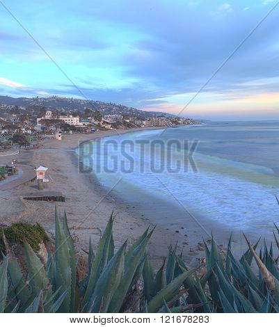 Sunset view of Main Beach in Laguna Beach, Southern California, United States