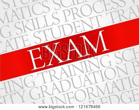 EXAM. Word cloud education collage, presentation background