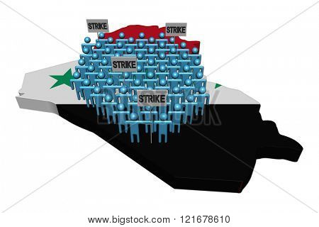 workers on strike on Iraq map flag illustration