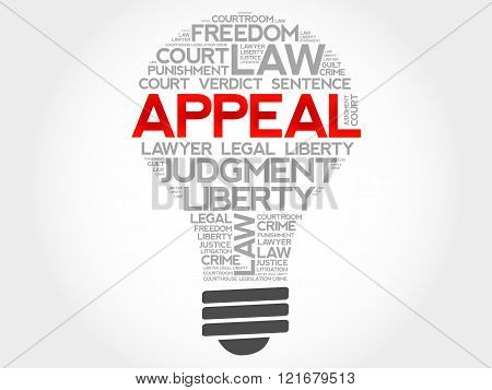 Appeal bulb word cloud concept, presentation background