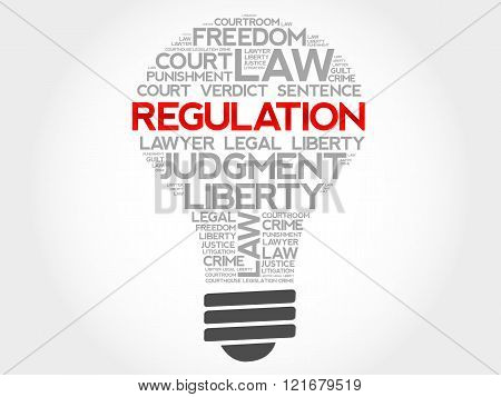 Regulation bulb word cloud concept, presentation background