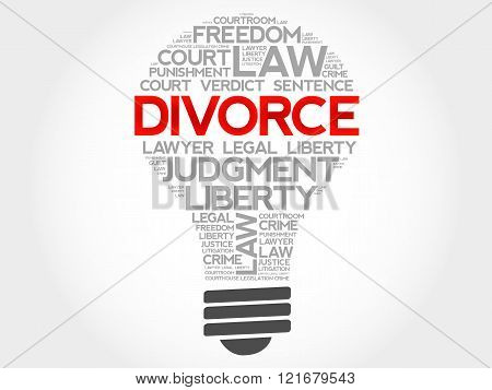 Divorce bulb word cloud concept, presentation background