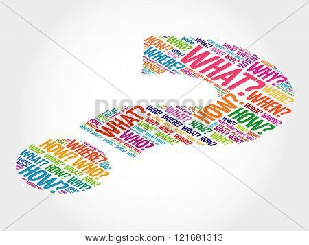 Question mark Question words concept, presentation background