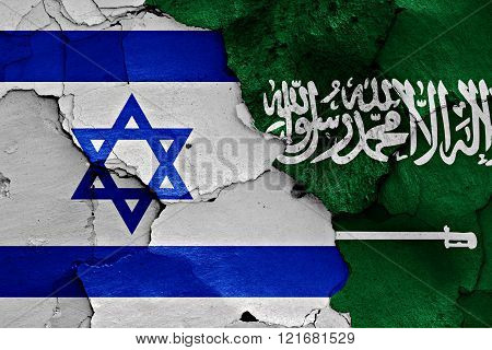 Flags Of Israel And Saudi Arabia Painted On Cracked Wall